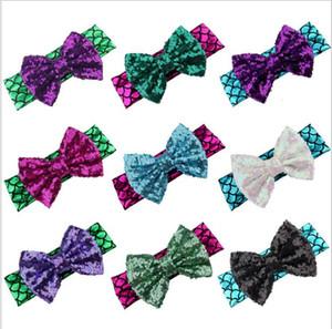 Bebek Kız Sequins Bow Bantlar Çocuklar Glitter Metalik Mermaid Kafa Bebek Headwraps Çocuk Hairbow Saç Aksesuarları Saç Bandı LT170