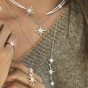 Colares do feminino Lady Fashion Designer Triplo Meteoritos ajustável Colar Fashion Star S925 Sterling prata personalizados