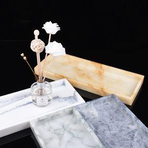 Motif en marbre Plateau de rangement résine plaque d'affichage de bijoux Creative Dessert Plate Snack Cake restaurant Plateau