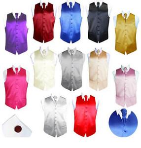 men fashion satin solid color vest with tie cufflinks fashion England leisure Slim Wedding Men Suit Vest 7 colours dress vests