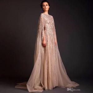 2019 Pailletten Dubai Abaya Formelle Anlässe Celebrity Kleider Arab Dubai Kaftan Abendkleid Saudi-Arabien Muslim Champagner Abend Party Kleider