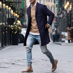INCERUN Erkekler Trençkotlar Uzun Kollu Kış Parkas Katı Giyim İngiliz Tarzı Moda Erkekler Klasik Ceket Rüzgarlık 2019 5XL