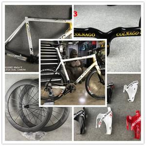 Colnago C64 Décor Art Blanc noir Or Cadre de vélo Glossy Colnago Guidon de carbone Bob 50mm Wheelset de carbone