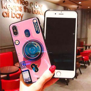 حالة الهاتف الفاخرة كاميرا 3D بلو راي غطاء الهاتف لحالات XR XS ماكس فون مع حلقة متعددة الوظائف