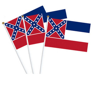 Mississippi State Hand Flag 10pcs set 20pcs set Ms State Flag 21*14cm Polyester Banner Printed United States Southern free shipping HHA1434