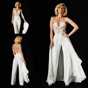 New Arrival Lace Wedding Jumpsuit with Detachable Train Ines Di Santo Illusion Bodice Lace Chiffon Summer Beach Bridal Gowns