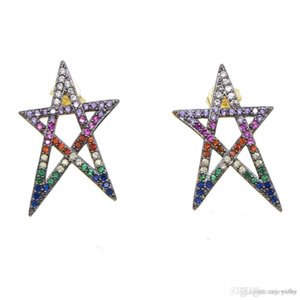 2019 cute lovely Hollow star paved dainty multi colorful CZ zirconia Gold color earring for girl women minimal Star stud earring