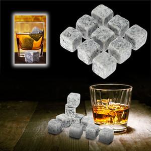 9pcs / set Pierres Whisky Pierres naturelles Whisky Cooler whisky roche stéatite Ice Cube avec le stockage étui en velours Bière Vin Pierre DBC BH3526