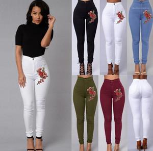Jeans bordados cor sólida Magro cintura alta doce cor Lápis Calças famale Floral Jeans Womens Casual