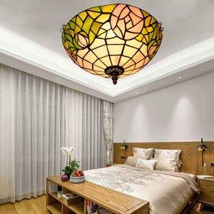 estilo Tiffany teto de vidro ilumina E27 aumentou art deco de vidro luz quarto corredor varanda lâmpada do teto TF065