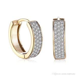Presentes Dia romântico jóias brincos banhados a ouro Única linha Mosaic Zircon Clip-On And Screw Voltar Brinco Acessórios Namorados POTALA135