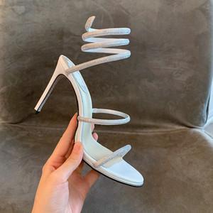 aleta Womens escorregas-flops sandálias 20SS Cristal Serpentine sapatos Sexy strass salto alto Cleo sandálias partido rc Sandal