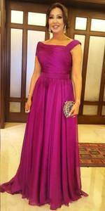 Larga simple madre barata de la novia vestidos de gasa fucsia drapeado barrer de tren más el tamaño de la manga casquillo del vestido de novia de visitantes formales de los vestidos de las madres