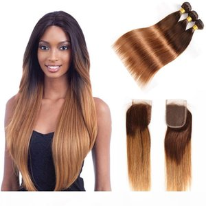 Ombre Malaysian Straight Human Hair Bundles With 4X4 Lace Closure 4 30# Blonde Malaysian Human Hair Weave 3 4 Bundles With Closure