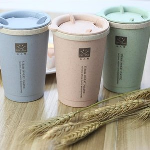 Wholesale- 2017 Sale New Protein Portable Eco-friendly Healthy Wheat Straw Leak-proof Coffee Cup 280ml Water Bottle Camping Couple