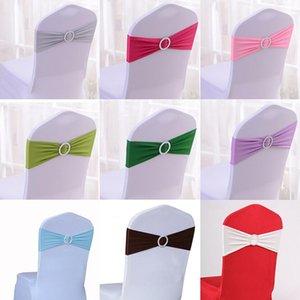 Paillette Sedia di cerimonia nuziale telai della copertura della sedia dello Spandex elastico Banda di prua con fibbia per matrimoni Party Eventi Accessori 16 colori scegliere