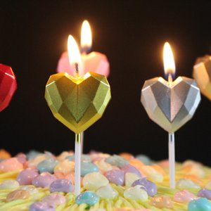 Candles For Happy Birthday Party Decorations Heart Diamonds Candles Cake Cupcake Topper Party Decor Supplies yq01802