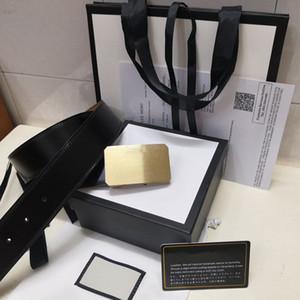 2019 Популярная кожа высокого качества пояса мужчин и женщин, золото пряжки серебро пряжки Черные пояса Бесплатная доставка с коробкой