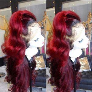 parte libera del corpo 360 Frontale onda lunga nera Ombre bordeaux rosso parrucche brasiliane parte anteriore del pizzo parrucca sintetica per le donne