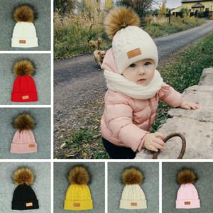 Niños Beanie Knitted Hat Niños Elástico Color sólido Invierno cálido Ski Cap Moda Chica Soft Pompom Ball Hat TTA1685