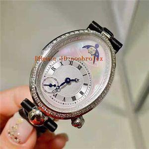 Novas Mulheres Diamond Watch mulher REINE DE NÁPOLES relógios pulseira de couro Swiss Quartz Movement Moonphase cristal de safira com diamantes Luneta