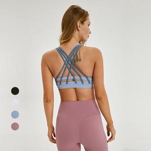 Entrenamiento hermoso detrás rellenó la aptitud sujetador de los deportes de las mujeres Entrecruzado cintas de empuje hacia arriba yoga de la gimnasia atléticos blusas Bras