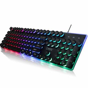 Yoteen Wired Gaming Keyboard Sentimento do arco-íris retroiluminado mecânica Botão 104Key flutuante com personalizáveis Efeitos de iluminação