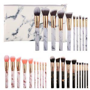 10pcs set Marble Makeup Brushes Blush Powder Eyebrow Eyeliner Highlight Concealer Contour Foundation with opp bag   pu bag