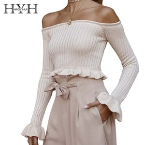 HYH HAOYIHUI 2019 귀여운 귀여운 소녀 달콤한 순수 패션 보트 넥 섹시한 칼라 배꼽 - 긴팔 스웨터