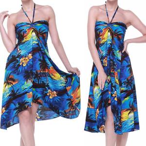 Womens vacanze senza maniche signore maxi Lunga Estate Stampa Beach size abito floreale 6-14