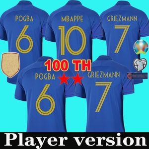 Maillot de foot version du joueur France soccer jersey francais Coupe du monde 2019 100e anniversaire chemise maillots de football shirt Griezmann MBAPPE Pogba 100 ans de la equipe