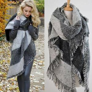 Yeni Moda Büyük Eşarplar Kadın Kalın Uzun Kaşmir Kış Yün Blend Yumuşak Sıcak Ekose Eşarp Şal Wrap Ekose Eşarp