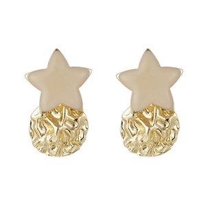 2020 New Korean Stud Earrings for Women Girl Fashion Pentagram Earrings Simple Irregular Round Star Earrings Fashion Jewelry
