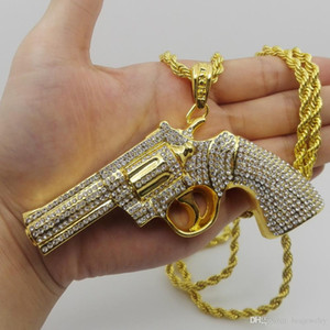 Hip Hop Very Big size Gun Pendant Necklace With Rhinestone Gold Color For Men Women Fashion Jewelry