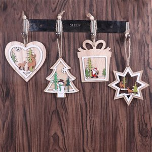 3D Xmas Tree Pendants Hanging Wooden Christmas Decoration Home Party Decor Merry Christmas L*5