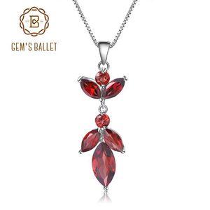 GEM балетных 2.94Ct натуральный красный гранат Pure 925 ожерелье стерлингового серебра цветка для женщин свадебной моды Fine Jewelry