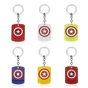 뜨거운 영화 복수 자 캡틴 아메리카 시리즈 개 태그 펜던트 키 체인 DC 마블 열쇠 고리 휴일 선물