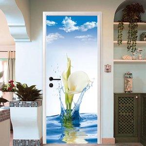 Modern Simple 3D Lily Flowers Wall Door Sticker PVC Self-Adhesive Waterproof Wallpaper Home Decor Living Room Door Decals Murals