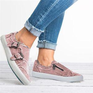 HEFLASHOR Frauen Vulcanized Schuhe Beleg Schuhe auf Flach Female Denim modische Turnschuhe beiläufige Breath