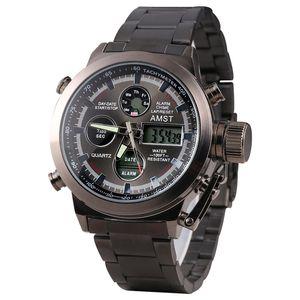 AMST Военные часы из нержавеющей стали ремешок светодиодные часы Men Top Brand Luxury Кварцевые часы Часы Hombre Relogio LY191213 Мужчина для