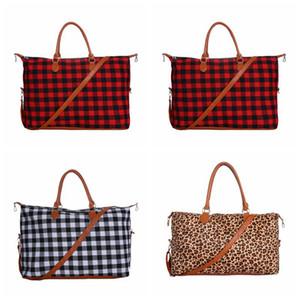 Buffalo bolsa de tela escocesa bolsa de lona 22inch Red Plaid Buffalo Weekender capacidad grande del bolso Compruebe bolso de lona con correa OOA7504 favor del partido