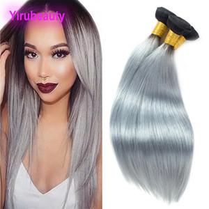 페루 인간의 머리카락 3 묶음 머리 제품 실키 스트레이트 1B / 회색 Yirubeauty 옴브 헤어 Wefts 1B 그레이 스트레이트 10-26inch