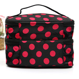 Designer-Korean large double-layer wave dot makeup bag cosmetic bag for travel makeup organizer and toiletry bag