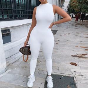 Simenual Casual Katı BODYCON Kolsuz Tulumlar Sportif Egzersiz Aktif Giyim Skinny 2020 Yaz tulum Kadınlar Jumpsuit Moda