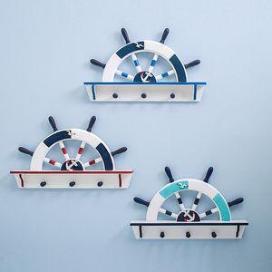 Estilo mediterrâneo Chave De Madeira Gancho Leme Forma Saco Chapéu Cabides Ganchos Pendurados Na Parede Casa Fundo Ornamentos Presentes