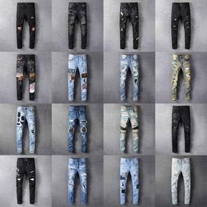 2020 Amiri Hommes Distressed Ripped Biker Jeans Slim Fit Motorcycle Denim pour les hommes Styliste Hip Hop Pants Man Bonne Qualité Vêtements