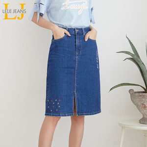 LEIJIJEANS New Arrival All season stretchy Knee-length Embroidery Denim Skirts Plus Size Fashion Blue A-line bule Women Skirts Y200704