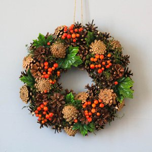 Coronas del partido Garland granja de Navidad Decoración de la guirnalda de bayas Puerta rústica hecha a mano País Sinterklaas Decoración de Año Nuevo