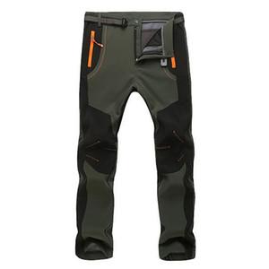 Pantalons d'hiver chauds pour hommes en polaire Doublure Pantalon cargo Mens Pantalon imperméable Homme stretch Pantalon de travail Casual 2019