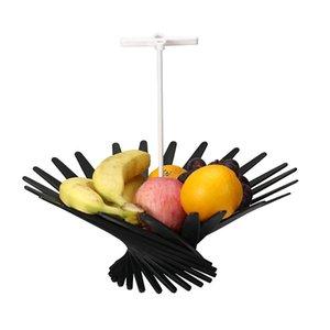 Творческий складная Корзина с фруктами ABS + нержавеющая сталь тарелка с фруктами Вращающийся Vortex Фруктовый лоток держатель стойки Bowl Home Decor
